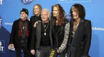 None - Steven Tyler, Tom Hamilton, Joey Kramer, Joe Perry e Brad Whitford, do Aerosmith (Foto: Robb Cohen/Invision/AP)
