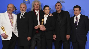 None - Elenco de Bohemian Rhapsody e integrantes do Queen no Globo de Ouro 2019 (Foto:Jordan Strauss/Invision/AP)