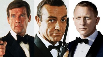 None - Roger Moore, Sean Connery e Daniel Craig como James Bond (Foto: Montagem)