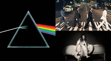 None - Capas dos discos The Dark Side of the Moon do Pink Floyd, Abbey Road dos Beatles e When We All Fall Asleep, Where Do We Go? da Billie Ellish (Foto: Divulgação)