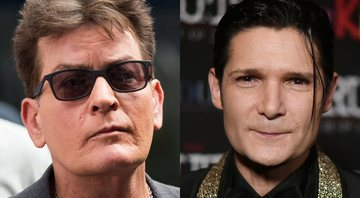 None - Charlie Sheen (Foto:Charles Sykes/Invision/AP) e Corey Feldman (Foto: Richard Shotwell/Invision/AP)