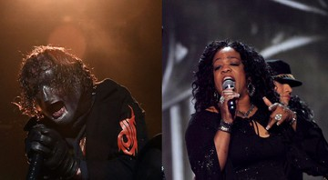 "None - Corey Taylor, do Slipknot, e Evelyn ""Champagne"" King (Fotos:CTK/AP Images e Photo by Frank Micelotta/Invision/AP)"