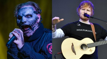 None - Corey Taylor, vocalista do Slipknot e Ed Sheeran (Foto 1: Amy Harris/AP | Foto 2: Ben Birchall/AP)