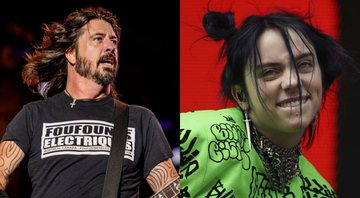 None - Dave Grohl em ação no Palco Mundo do Rock in Rio 2019 (Foto: Renan Olivetti/I Hate Flash) e Billie Eilish em ação (Owen Humphreys/PA via AP Images)