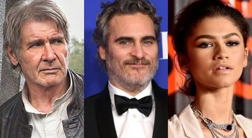 None - Harrison Ford (Foto: Reprodução), Joaquin Phoenix (Foto: Kevin Winter / Getty Images) e Zendaya (Foto: Steven Ferdman/Getty Images)