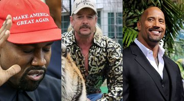 None - Kanye West, Joe Exotic e Dwayne 'The Rock' Johnson (foto: Getty Images/ Oliver Contreras/ Netflix)