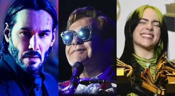 None - Keanu Reeves em John Wick, Elton John e Billie Eilish (foto: reprod Lionsgate/ Matt Sayles/ Invision/ AP/ Chris Pizzello/ AP)
