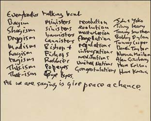 "Letra de ""Give Peace a Chance"", manuscrito de John Lennon"