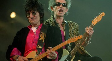 Ron Wood e Keith Richards em Seattle, em 28 de novembro de 1997, em show da turnê Bridges To Babylon