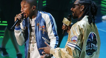 Pharrel Williams e Snoop Dogg no show do All-Star Game da NBA 2014 - Brent Stewart/AP