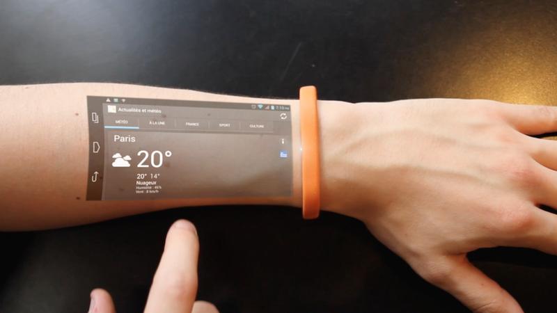 Rolling Stone · Bracelete transforma antebraço do usuário em tela touch screen
