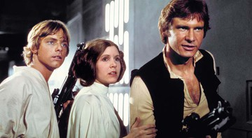 None - Mark Hamill (Luke), Carrie Fisher (Princesa Leia) e Harrison Ford (Han Solo) no filme original,em 1977 (Foto: LUCASFILM LTD.)