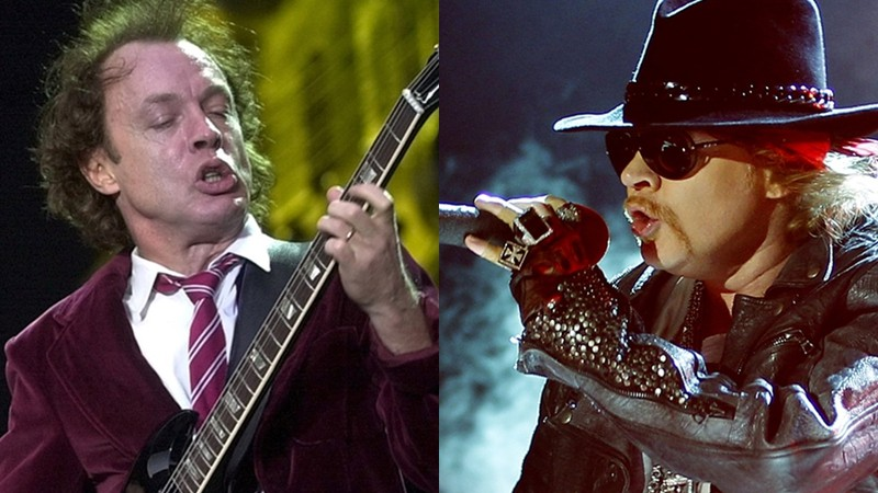 Angus Young, guitarrista do AC/DC, e Axl Rose, vocalista do Guns N' Roses