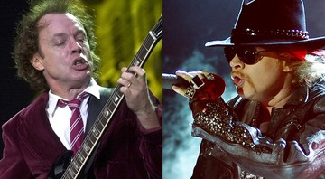 Angus Young, guitarrista do AC/DC, e Axl Rose, vocalista do Guns N' Roses - AP