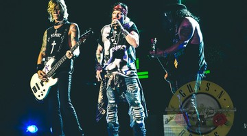 Axl Rose, Slash e Duff McKagan durante show da turnê Not in This Lifetime, do Guns N' Roses - Katarina Benzova/Divulgação