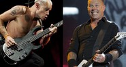 Flea (baixista do Red Hot Chili Peppers) e James Hetfield (vocalista e guitarrista do Metallica) - AP