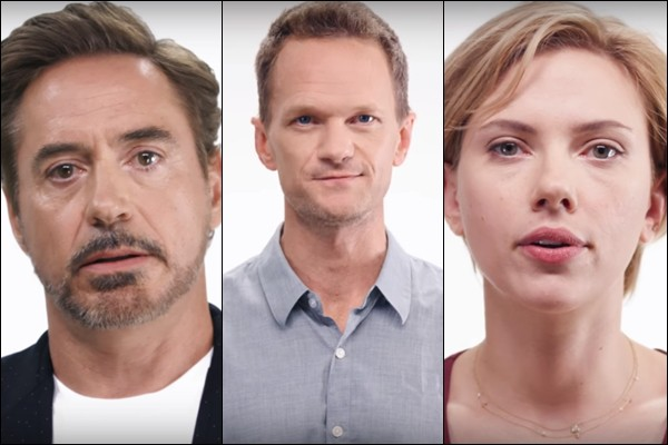 Robert Downey Jr, Neil Patrick Harris e Scarlett Johannson na série de vídeos Save the Day PAC, criada por Joss Whedon