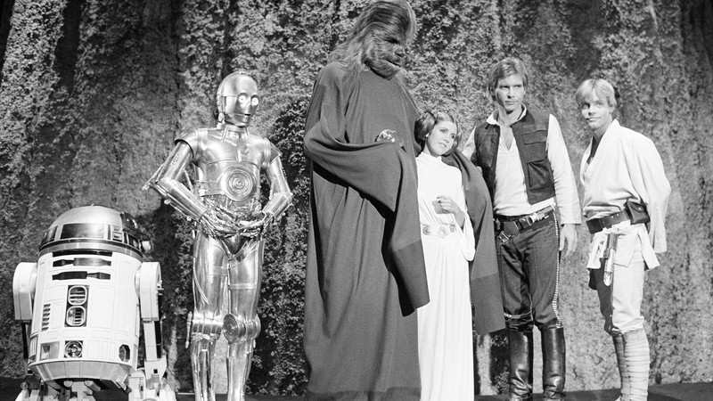 O elenco de Star Wars na gravação do especial para a TV The Star Wars Holiday no dia 13 de novembro de 1978.