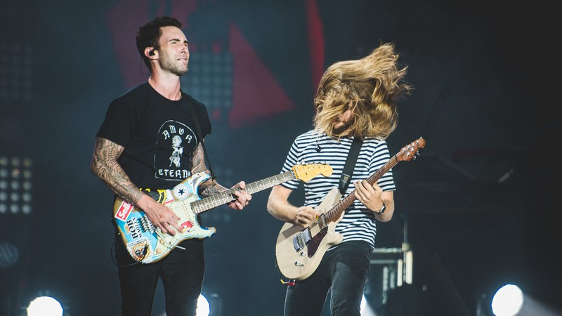Maroon 5 durante show no Rock in Rio 2017