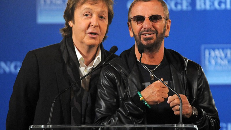Os integrantes remanescentes dos Beatles, Paul McCartney e Ringo Starr, em 2009