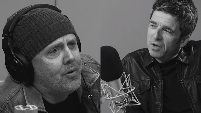 Lars Ulrich, baterista do Metallica, e Noel Gallagher, ex-Oasis, em entrevista na rádio da Apple Music, a Beats 1
