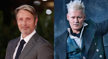 None - Mads Mikkelsen e Johnny Depp (Foto 1: Vittorio Zunino Celotto/Getty Images for RFF/Foto 2: Divulgação / Warner Bros)