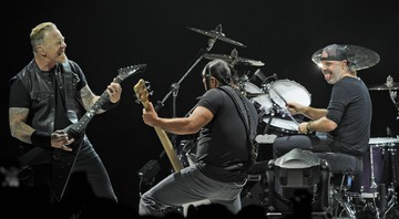 None - James Hetfield, Robert Trujillo e Lars Ulrich, do Metallica (Foto:KGC-138/STAR MAX/IPx)