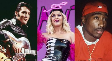 None - Montagem com Elvis Presley (Foto: NBC), Katy Perry (Foto: Amy Harris/Invision/AP) e Tupac Shakur (1196591Globe Photos/MediaPunch/IPx)