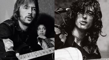 None - Montagem com Eric Clapton (Foto: Reprodução / YouTube) e Jimmy Page (Michael Zagaris Photography LLC e Reel Art Press)
