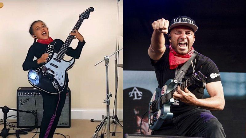 Menina de 10 anos inaugura guitarra que ganhou de Tom Morello com cover do Audioslave