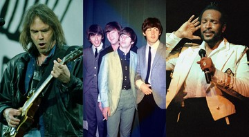 None - Montagem com (AP Photo/Martin Cleaver), Beatles (Foto: AP File) e Marvin Gaye (AP Photo/Nancy Kaye)