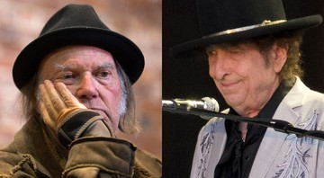None - Neil Young e Bob Dylan ( Foto 1: Darryl Dyck/The Canadian Press/AP; Foto 2: Isabel Infantes/PA Wire / Via AP Images)