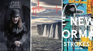 None - Capa dos discos: Ordinary Man, do Ozzy Osbourne; Gigaton, do Pearl Jam e The New Abnormal, do The Strokes (Fotos:Reprodução)