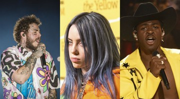 None - Post Malone (Foto 1:Mila Maluhy), Billie Eilish (Foto 2:Joe Russo / Sipa USA/ AP Images) e Lil Nas X (Foto 3: Chris Pizzello/AP)