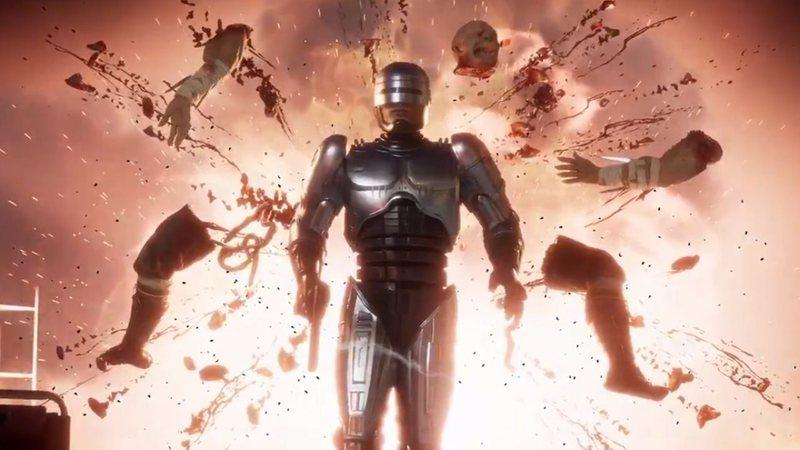 Robocop em Mortal Kombat 11: fatalities com sangue, tiros e cabeças explodindo