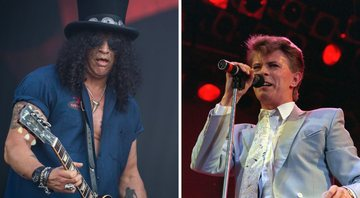 None - Slash e David Bowie (Foto 1: AP e Foto 2: Matthias Merz/picture-alliance/DPA/AP)