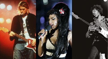 None - Kurt Cobain, Amy Winehouse e Jimi Hendrix, todos do Clube dos 27 (Fotos: AP)