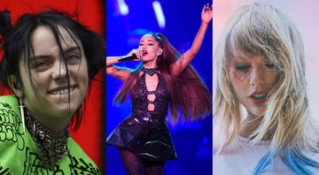None - Billie Eilish, Ariana Grande e Taylor Switf (Fotos: Owen Humphreys, AP [Billie Eilish]; Chris Pizzello, Invision/AP [Ariana Grande]; Reprodução Lover [Taylor Swift])]