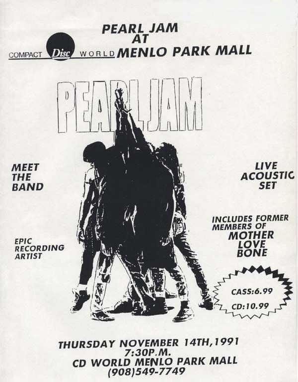Pôster de divulgação de show acústico do Pearl Jam; apresentação teve duas músicas