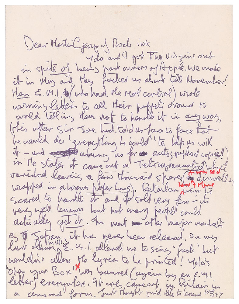 Carta de John Lennon. (Foto: Reprodução / RR Auction)
