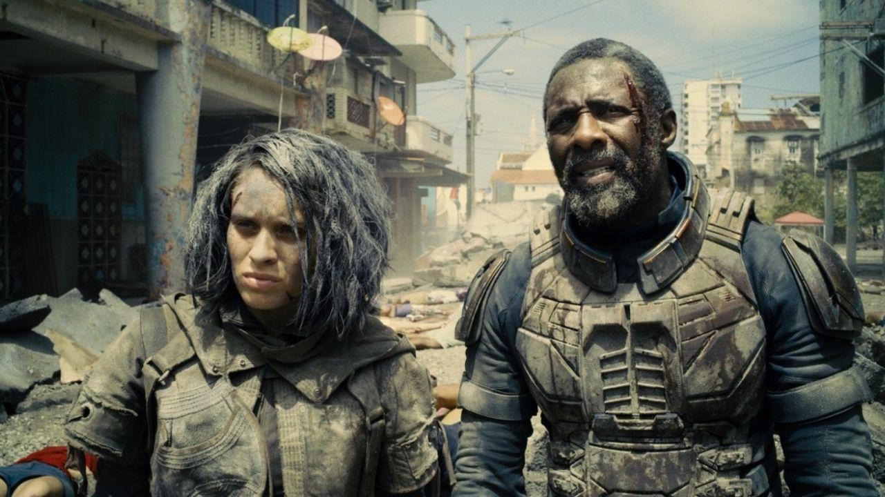 Daniela Melchior (Caça-Ratos 2) e Idris Elba (Sanguinário) em O Esquadrão Suicida
