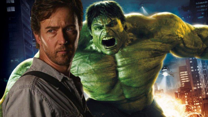 Colagem de Norton como Bruce Banner e Hulk. Explosão e prédios ao fundo.