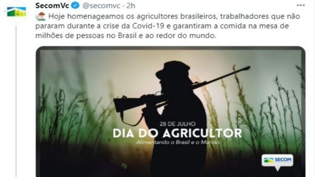 foto de homem armado publicado nas redes sociais para comemorar o dia do agricultor