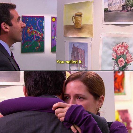 Michael vai à exposição de Pam, em The Office (Foto: Reprodução NBC)
