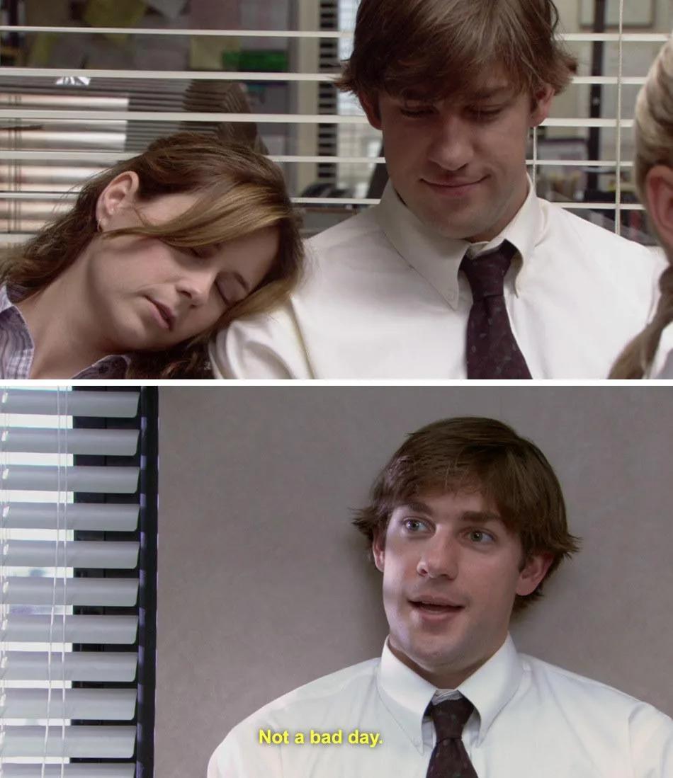 Quando Pam caiu no sono no ombro de Jim, The Office (Foto Reprodução NBC)