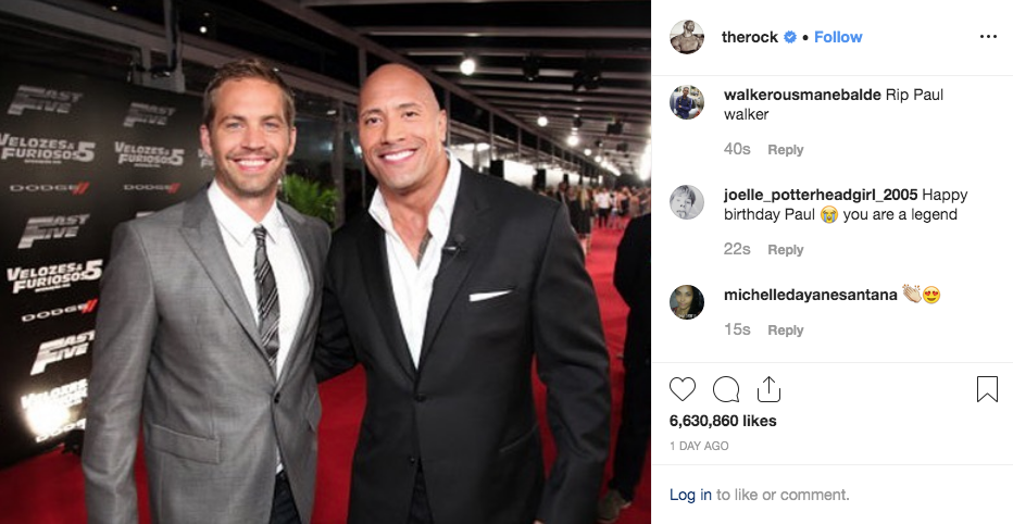 Post de Dwayne Johnson no Instagram
