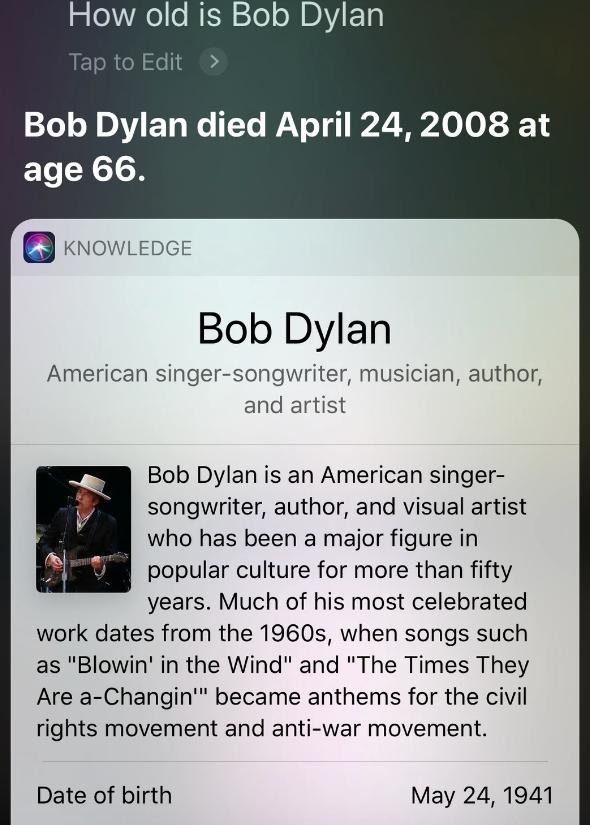 Siri fala que Bob Dylan está morto