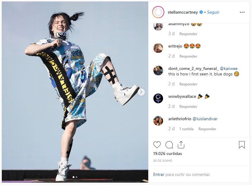Billie Eilish usa Stella McCartney (Foto: Reprodução / Instagram)